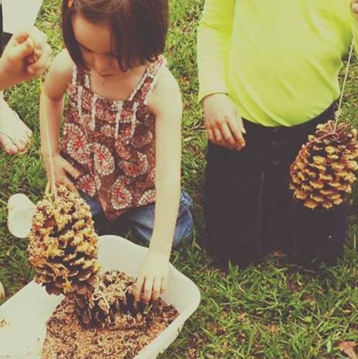 Making pine cone bird feeders (Photo taken by Victoria, who participates in our co-op class)