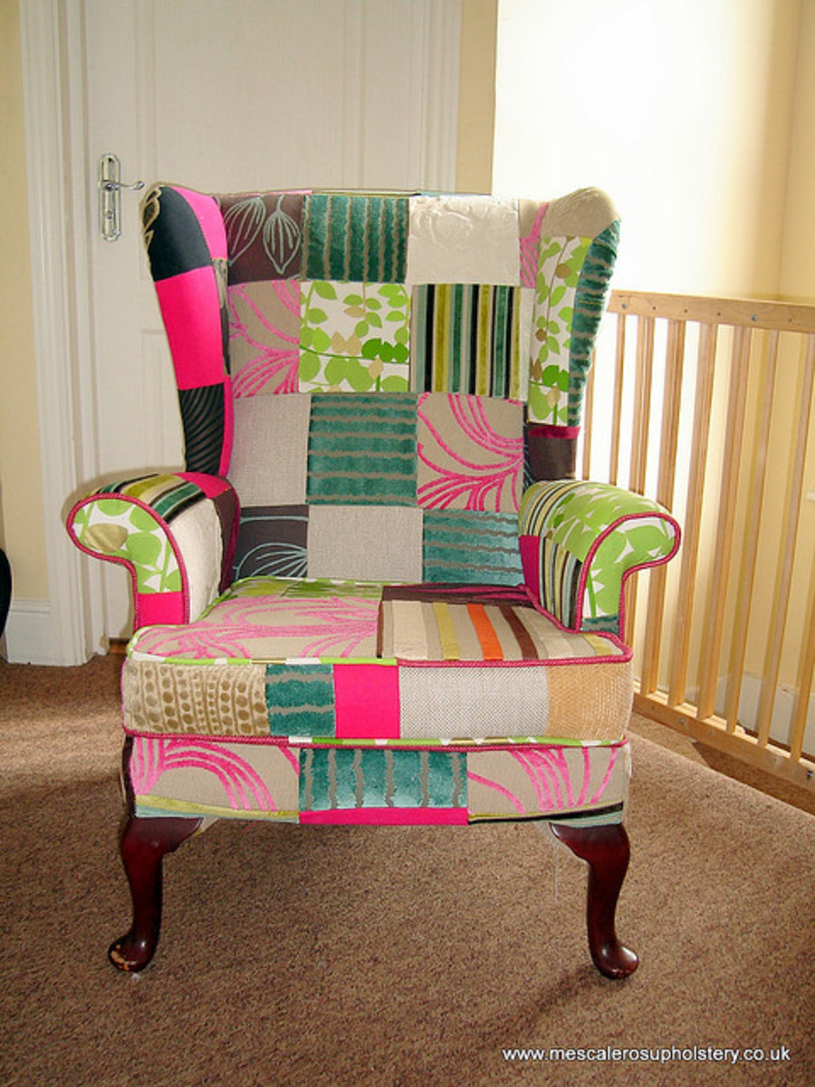 This Parker Knoll chair has been re-upholstered with a patchwork design, and I absolutely love the result.