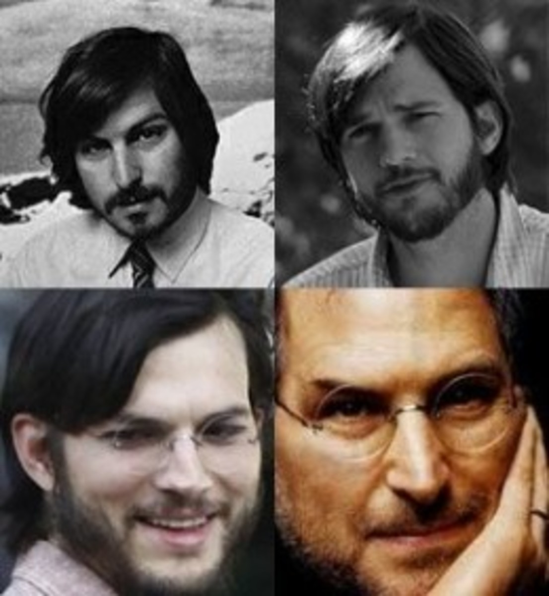 Ashton Kutcher as Steve Jobs. Sporting Young Jobs' facial hair, and 21st Century Jobs' Glasses