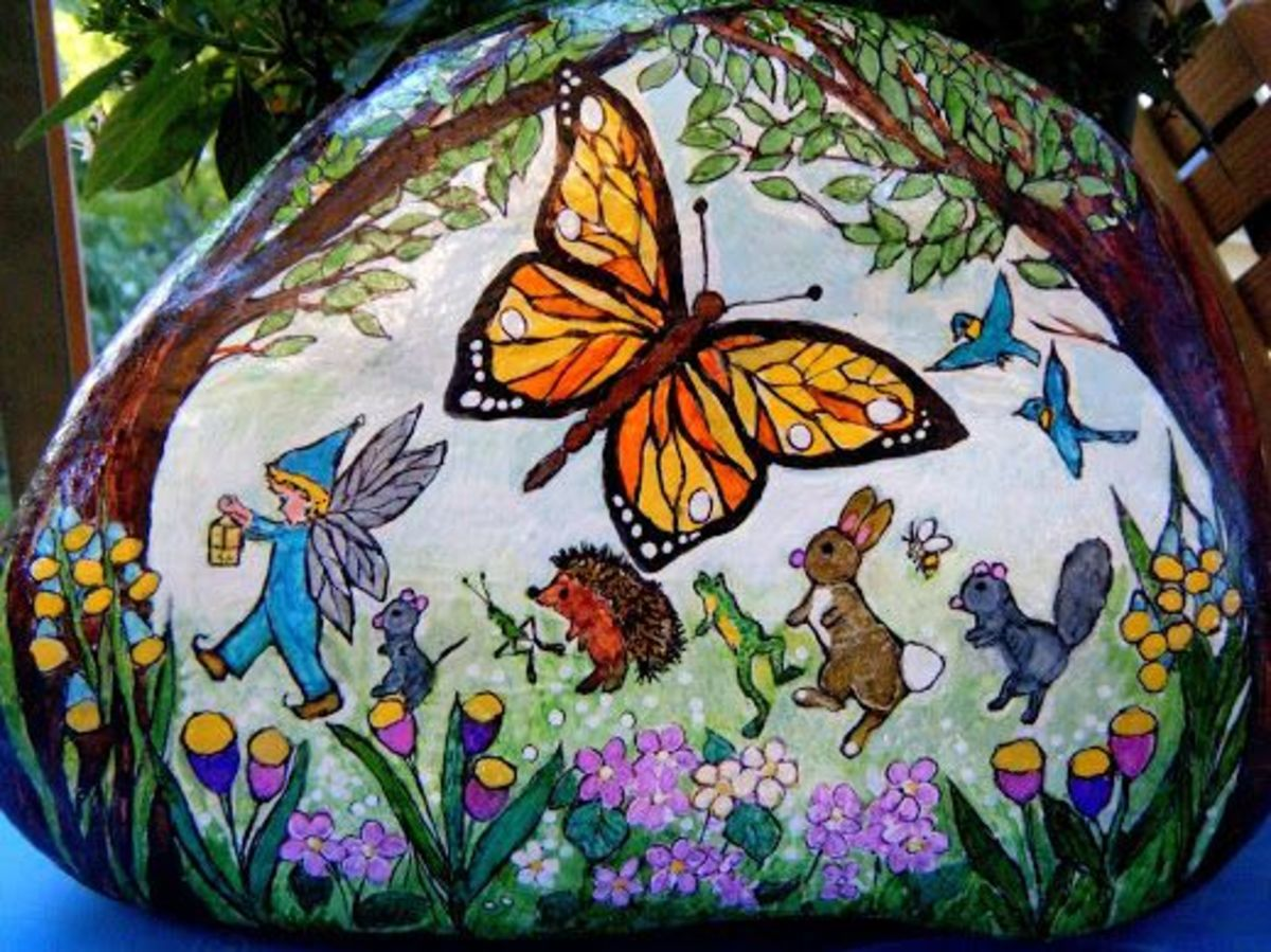 Fairy & Friends Parade Through The Meadow - large garden rock for sale, contact me at nancygirlcreations@yahoo.com for more information if interested