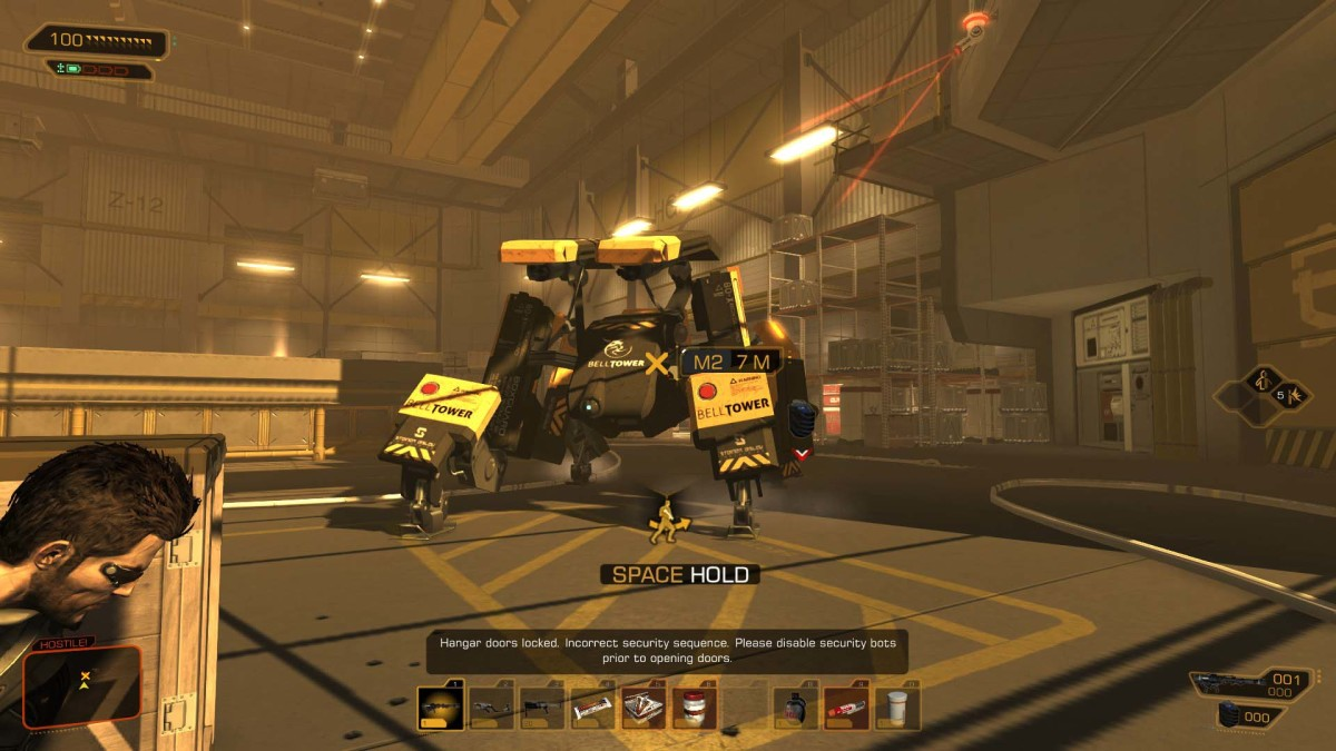 Deus Ex Human Revolution Planting the EMP Grenade to Disable the Bots