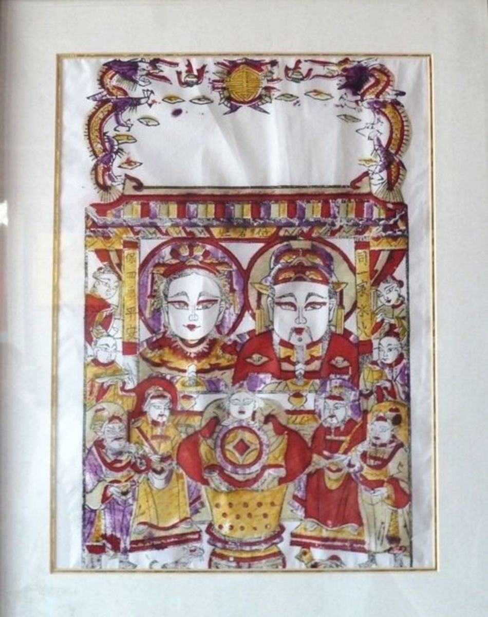 Kitchen God in China with the Kitchen God's Wife print