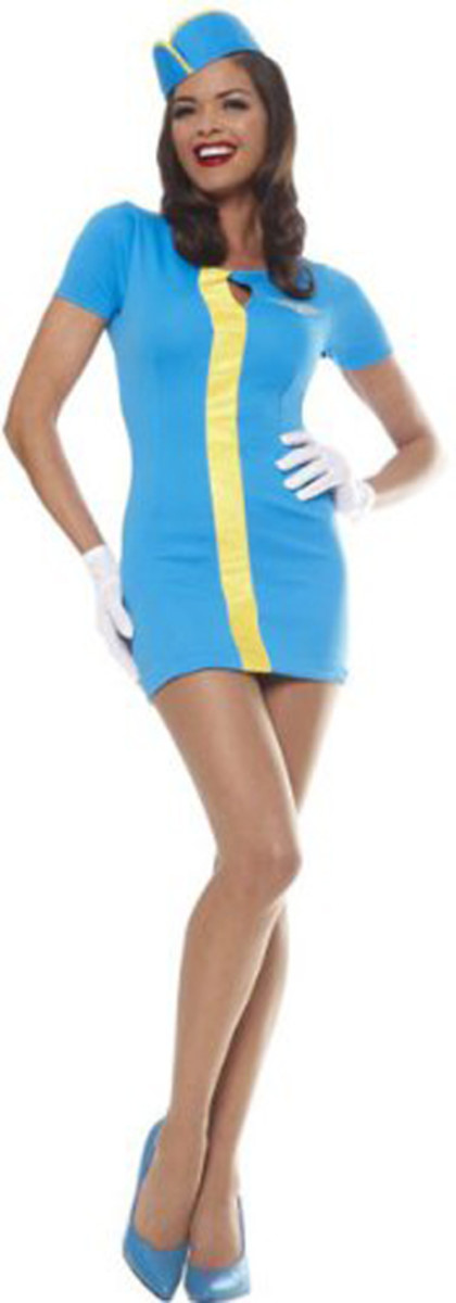 "This costume is modeled after the 1960s Pan Am Stewardess uniform, in particular as depicted on the new ABC television show. This suit is ""Pan Am Blue"" which is a bright sky blue worsted wool."