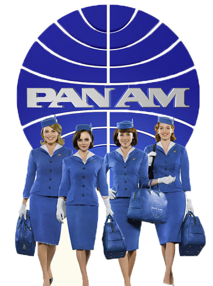 Christina Ricci and her flight crew dressed as Pan Am flight attendants in the new ABC Ht TV Show