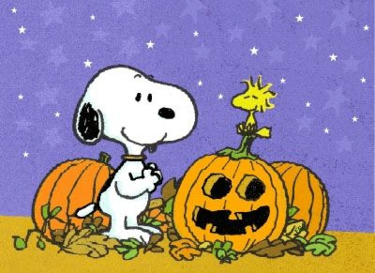 Snoopy and Woodstock celebrate Halloween