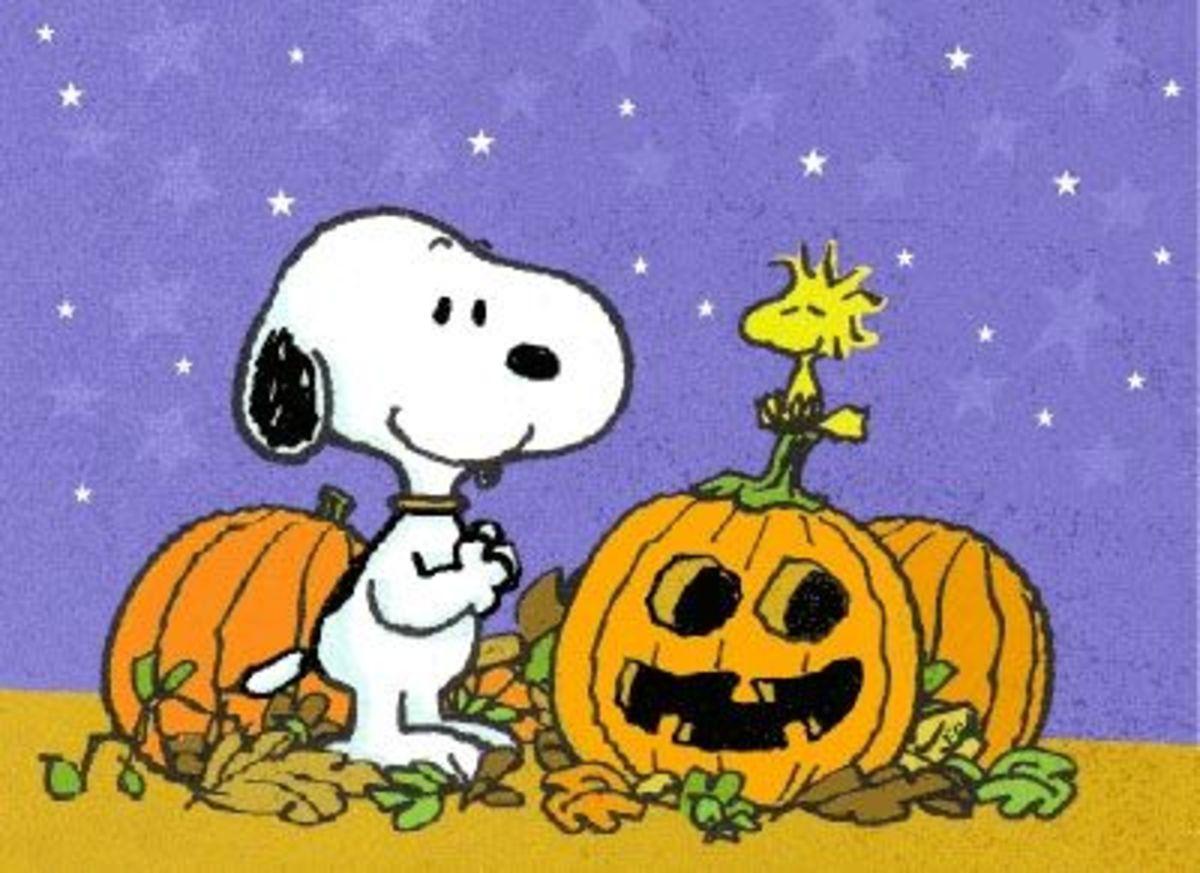 Snoopy and Woodstock celebrate Halloween