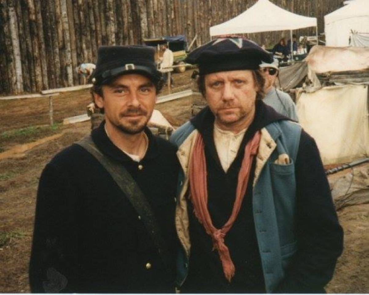 Michael Stephen Bryant gave me permission to share this photo showing him and another actor experiencing Andersonville and finding out what it was like being there for several weeks.