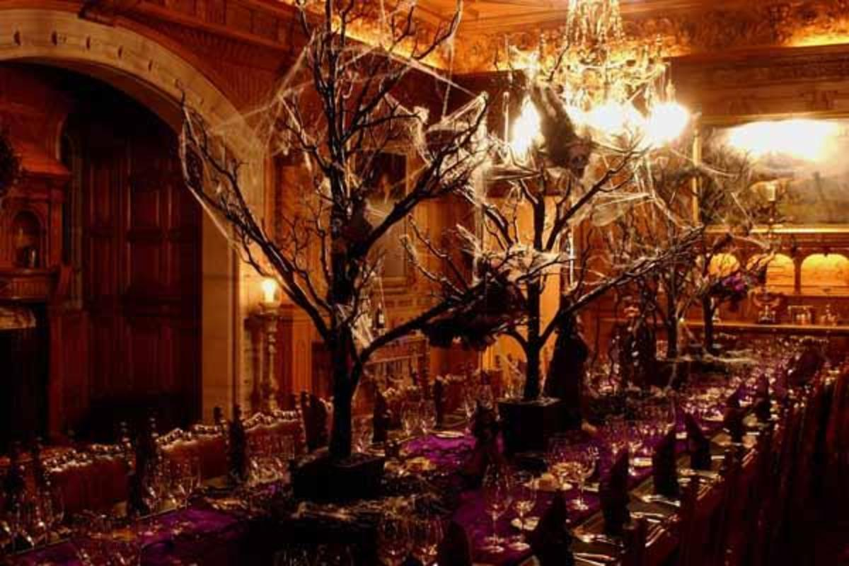 A spooky table set for a Halloween dinner party