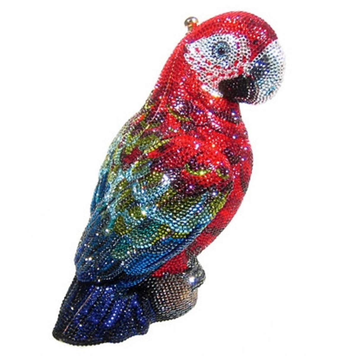 SCARLETPrice: $5,695 This one is really unique as it is in the parrot shape. It has wonderfully sculpted tail and wing feathers. It also includes onyx eyes. On the top, it is a push down closure. It has been beaded by hand out of multicolored Aust
