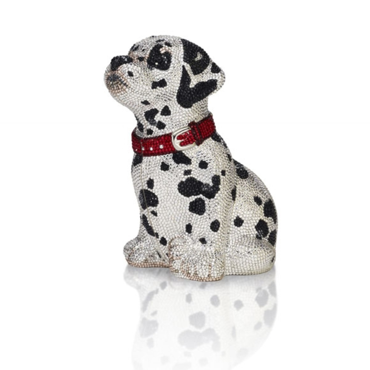 """LUCKYPrice: $4,795Seated Dalmatian minaudi�re features onyx eyes, top snap closure and 19"""" chain. Absolutely adorable and perfect for all you dog lovers out there!"""