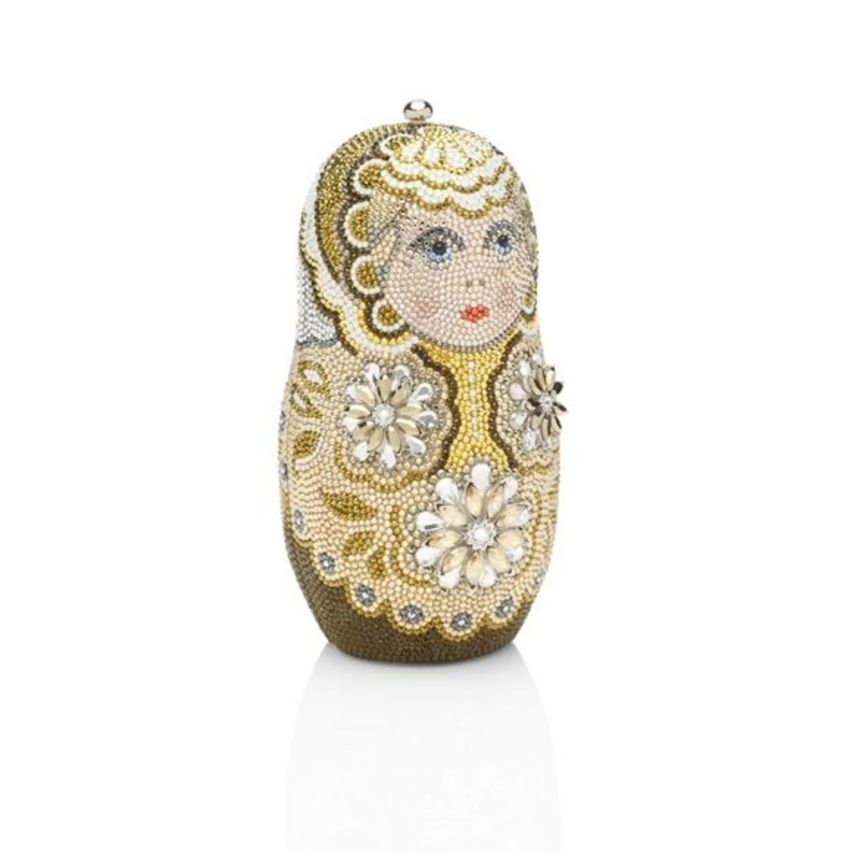 """MASHAPrice: $4,995Traditional matryoshka nesting doll minaudi�re with multi-size crystals in a lace and snowflake pattern. 19"""" chain."""