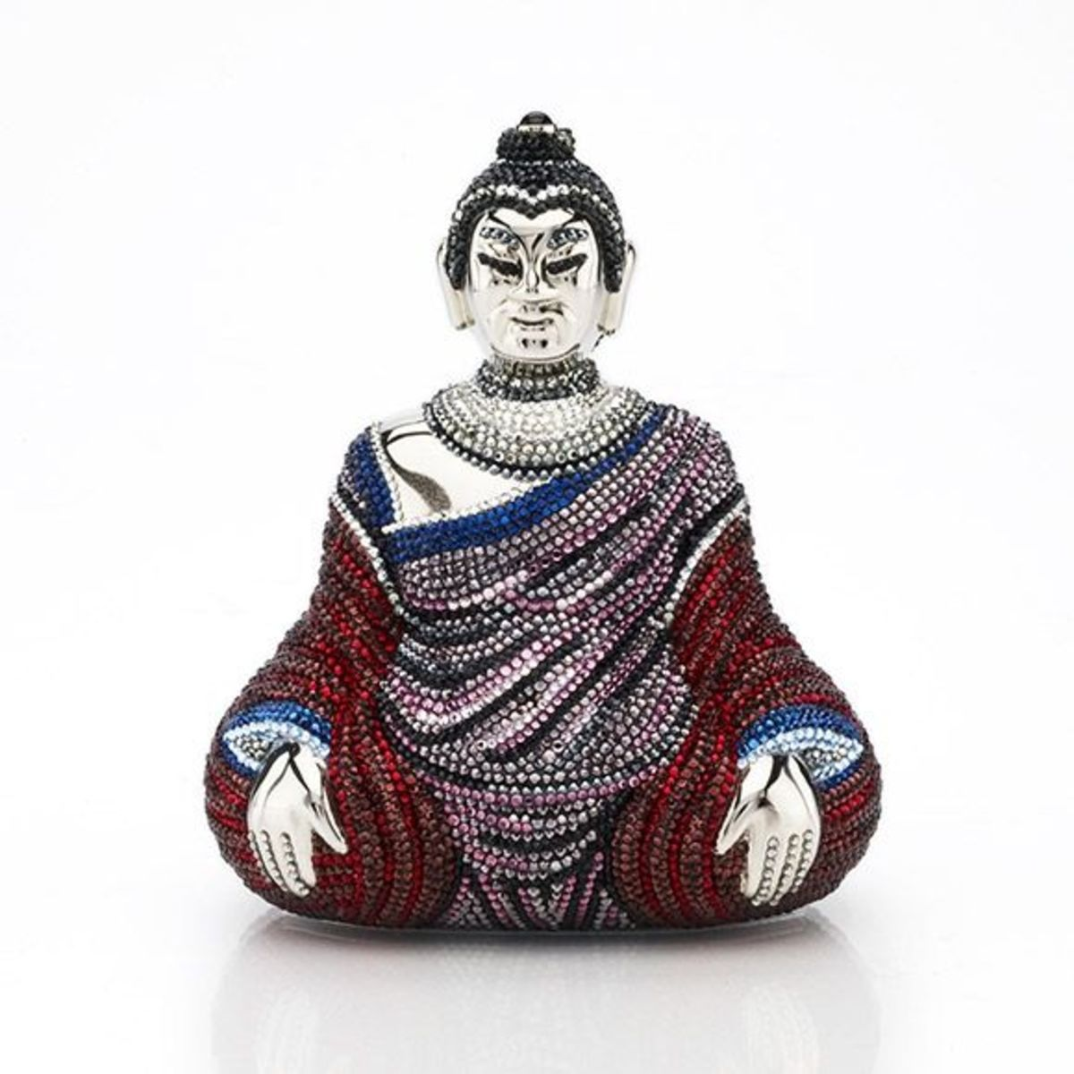 "RAJAVONGPrice: $4,395Seated Buddha minaudière in burgundy, indigo and plum crystal. 19"" chain, top snap closure."