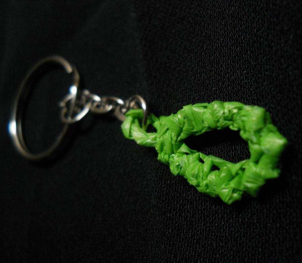 Lucky Crab Stitch Key Chain - crocheted in green plarn