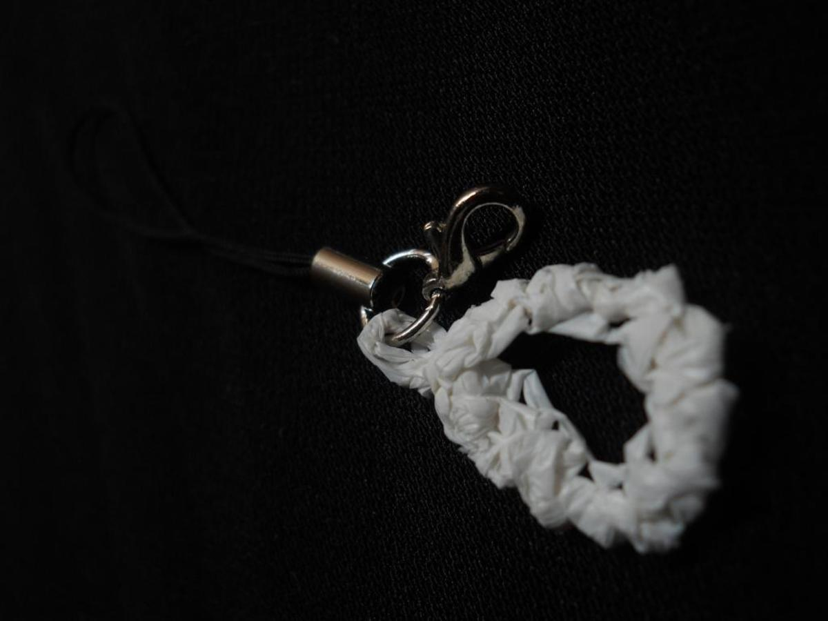 Lucky Crab Stitch Cell Phone Charm - crocheted in white plarn