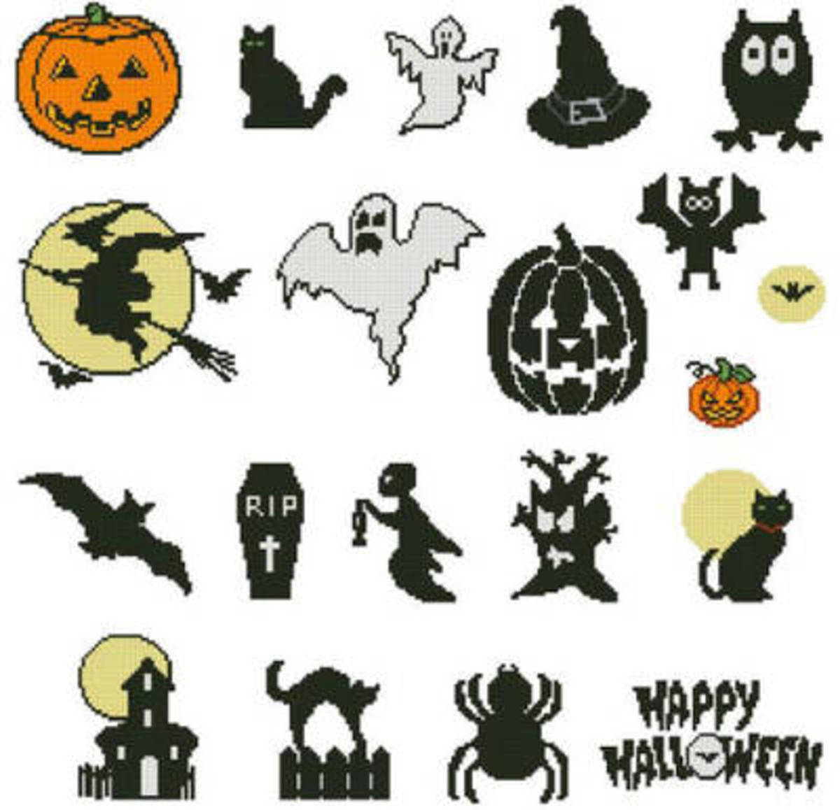 Simple, Basic Halloween Cross Stitch Projects