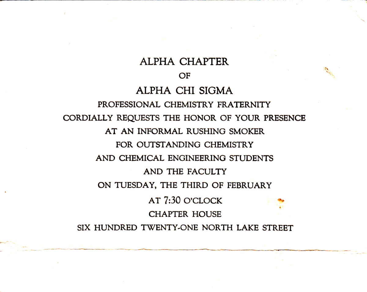 An invitation to attend a rush smoker at Alpha Chi Sigma fraternity