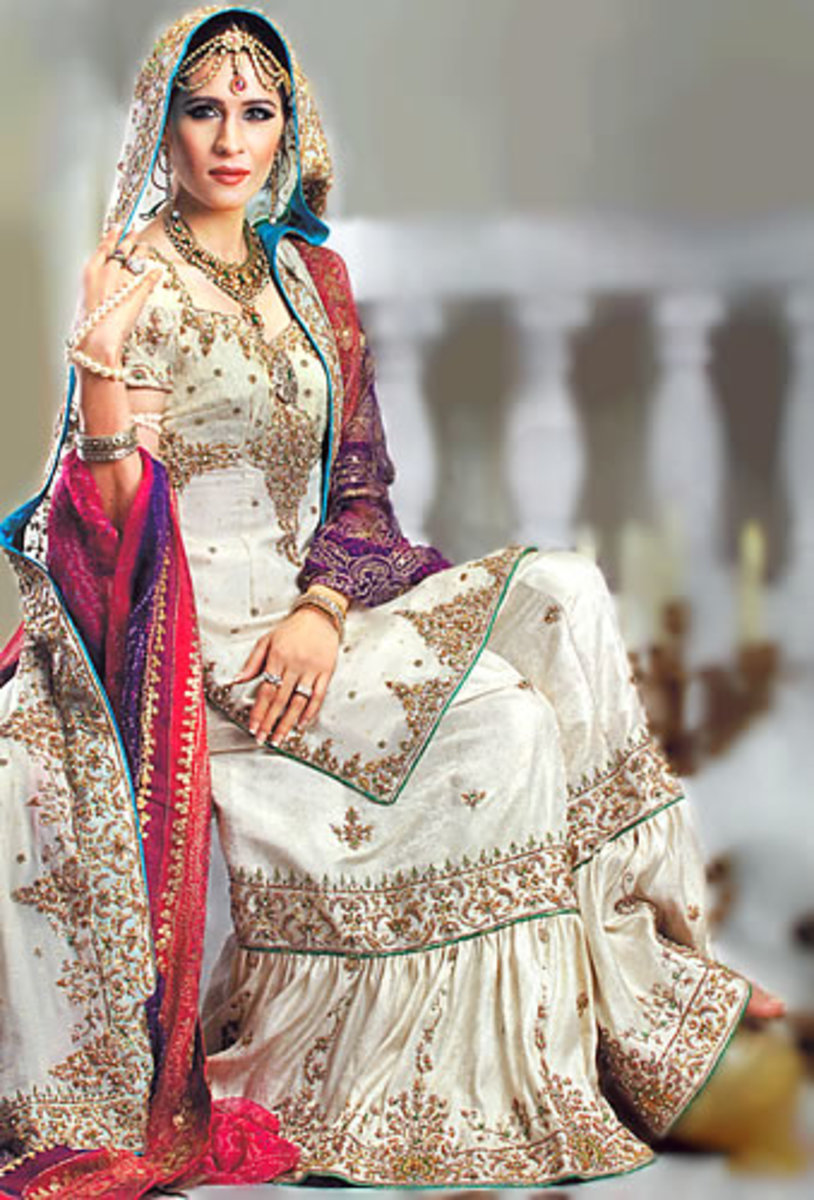 Ivory wedding Gharara