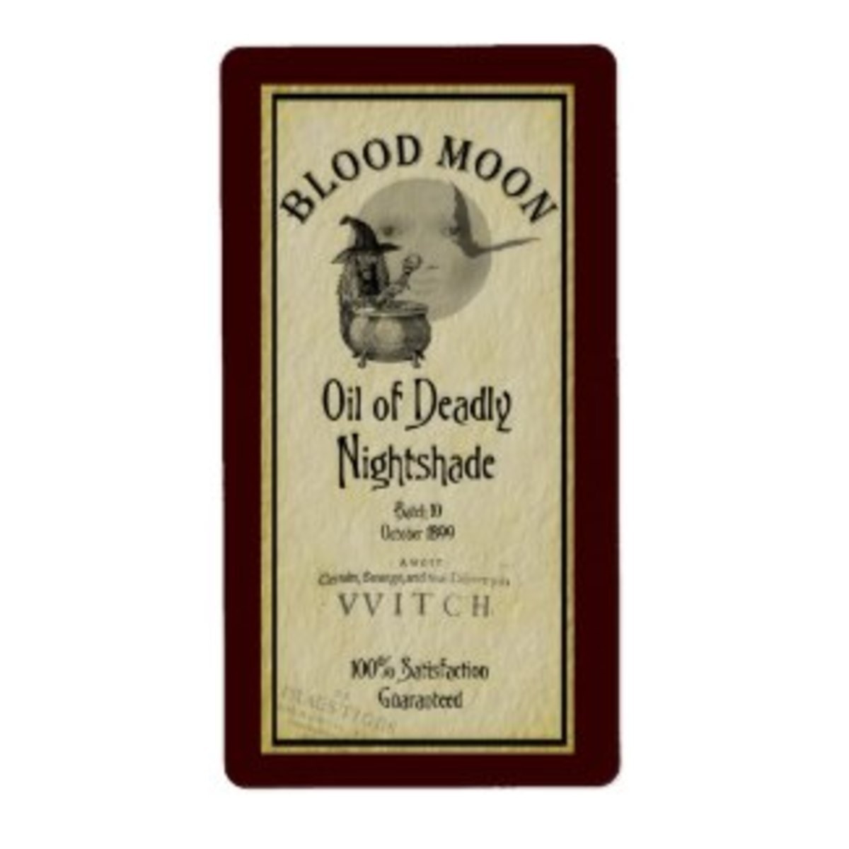Blood Moon Label Oil of Deadly Nightshade