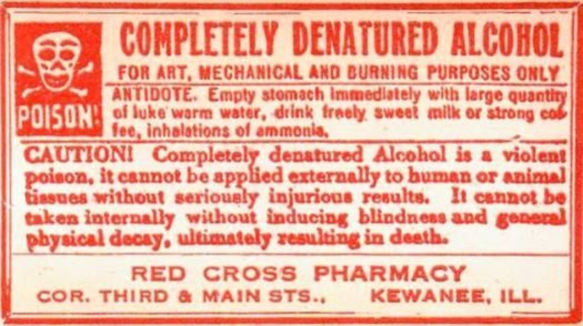 Vintage Pharmacy Label - Denatured Alcohol (Poison)