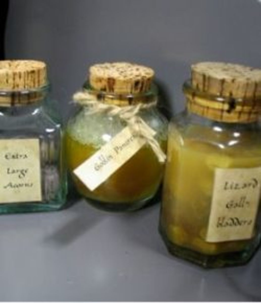 Labeled Potion Jars and Bottles