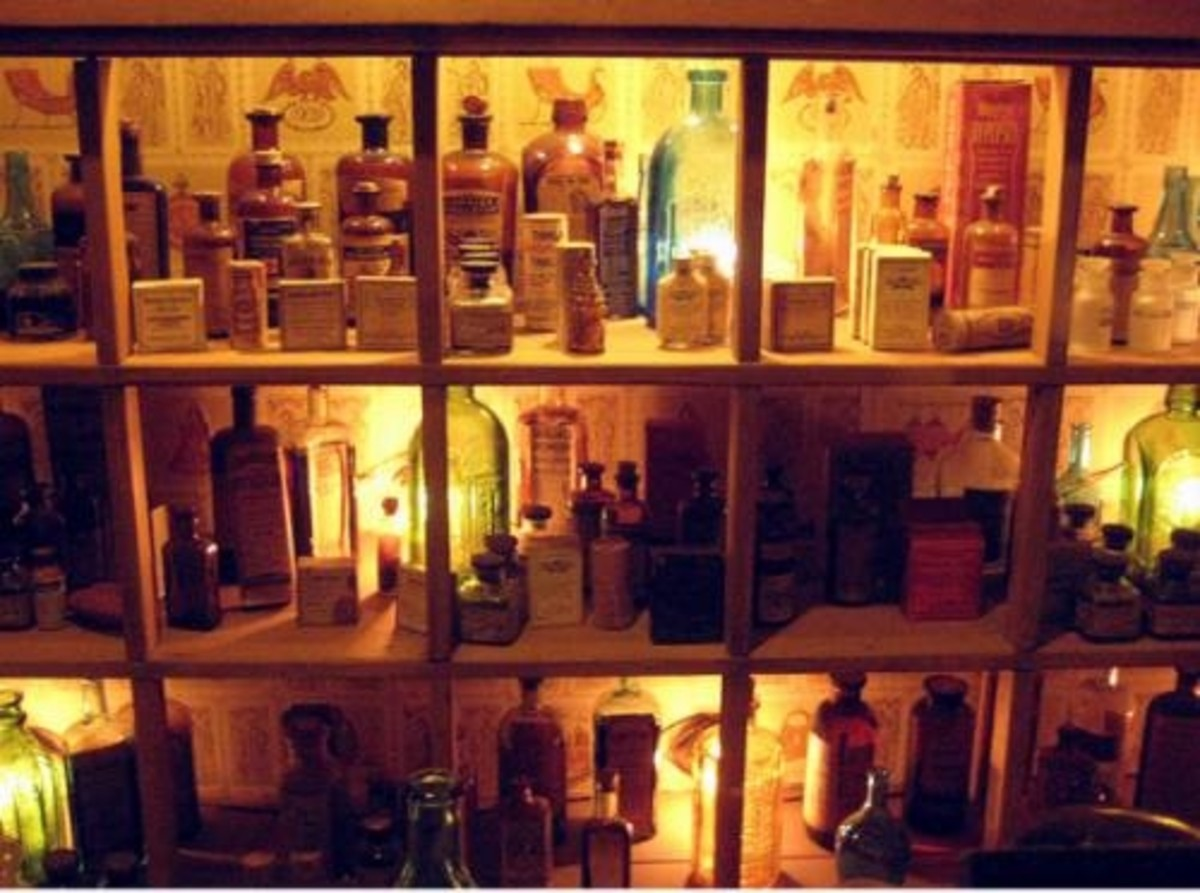 Display the Labeled Apothecary Bottles on Shelves