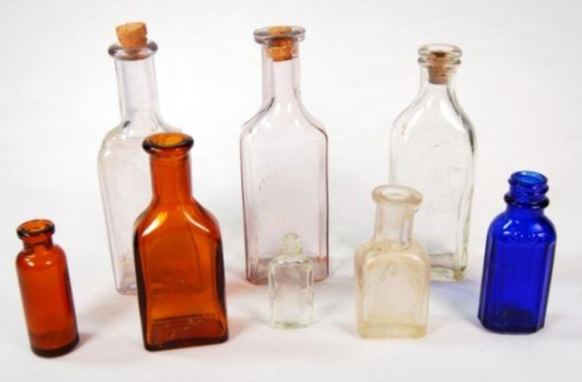 A Collection of Old Vintage Apothecary Bottles