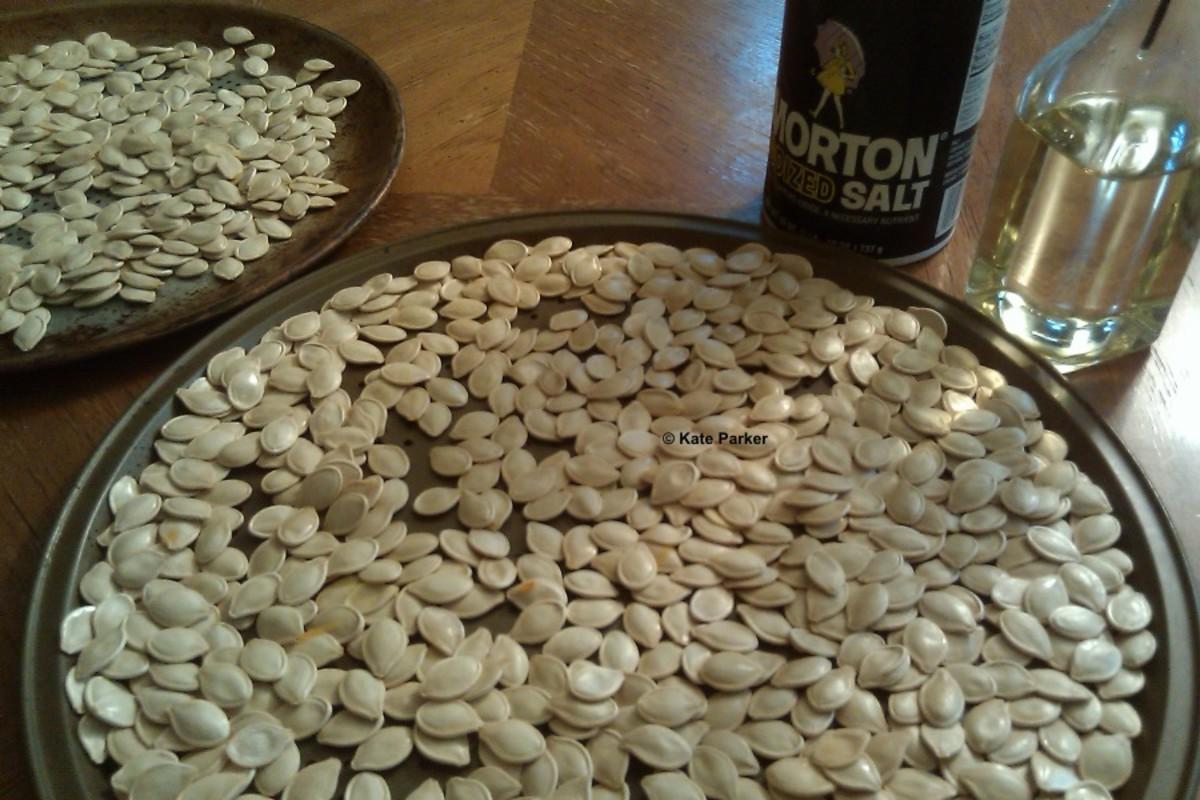 Step 3: Coat seeds in vegetable oil and coarse salt.