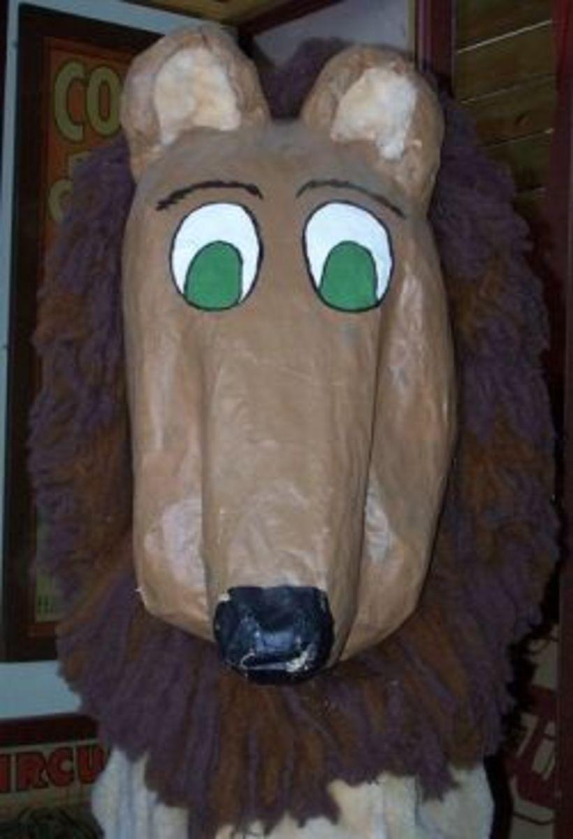 paper mache lion mask by Valerie Everett, flickr.com