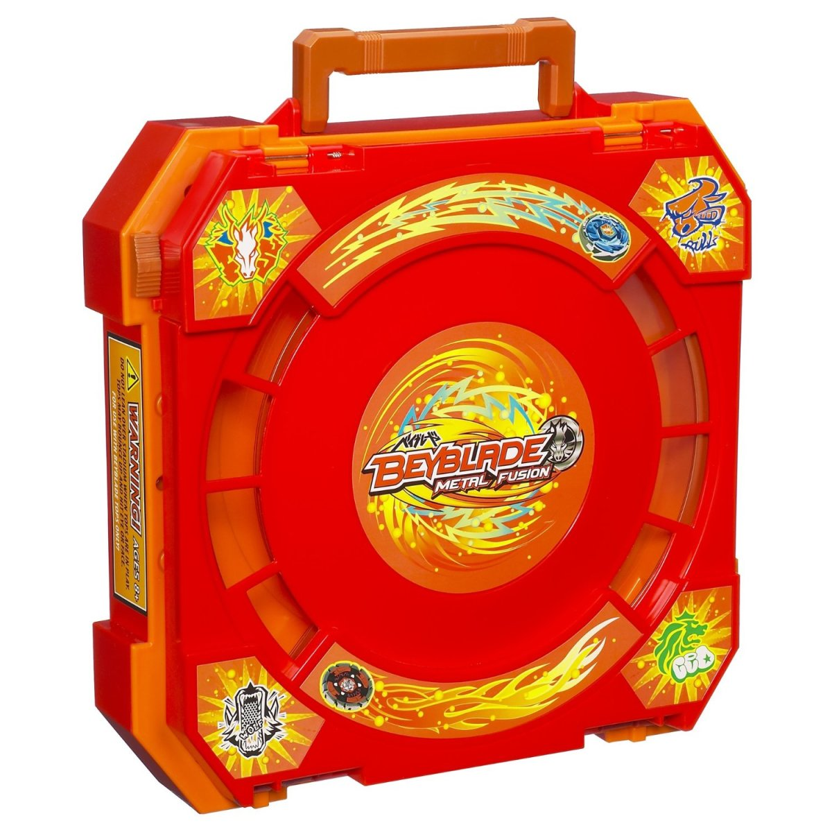 Combination Beyblade stadium and carrying case.