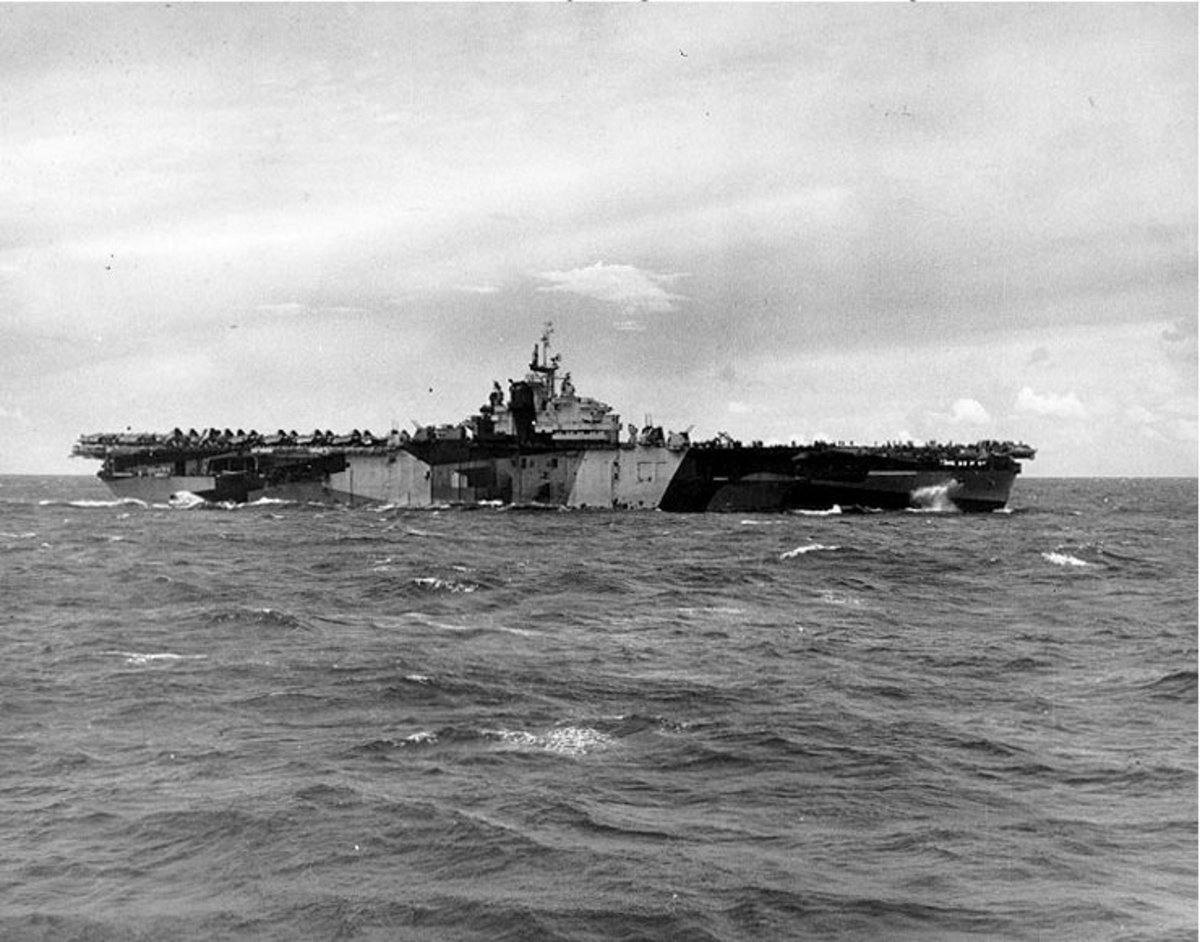 USS Franklin (CV-13) near the Mariana Islands on August 1,1944.