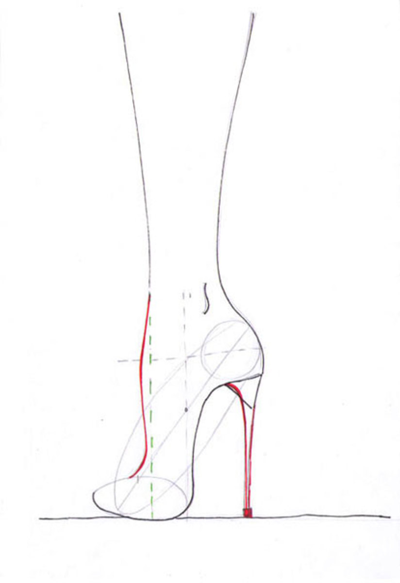 Draw the heel perpendicular to the floor and use the guidelines to add the instep curve.