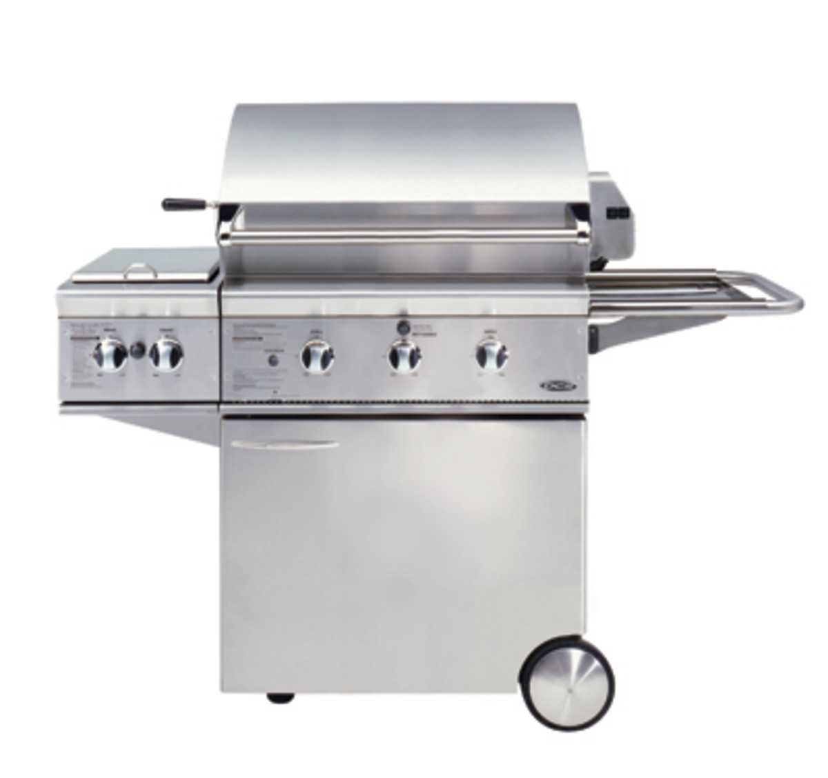 """The DCS 30 models were always a little different from the rest of the DCS models.  Here a DCS 30"""" gas bbq grill on a portable cart is shown with a double side burner that replaced one side shelf."""