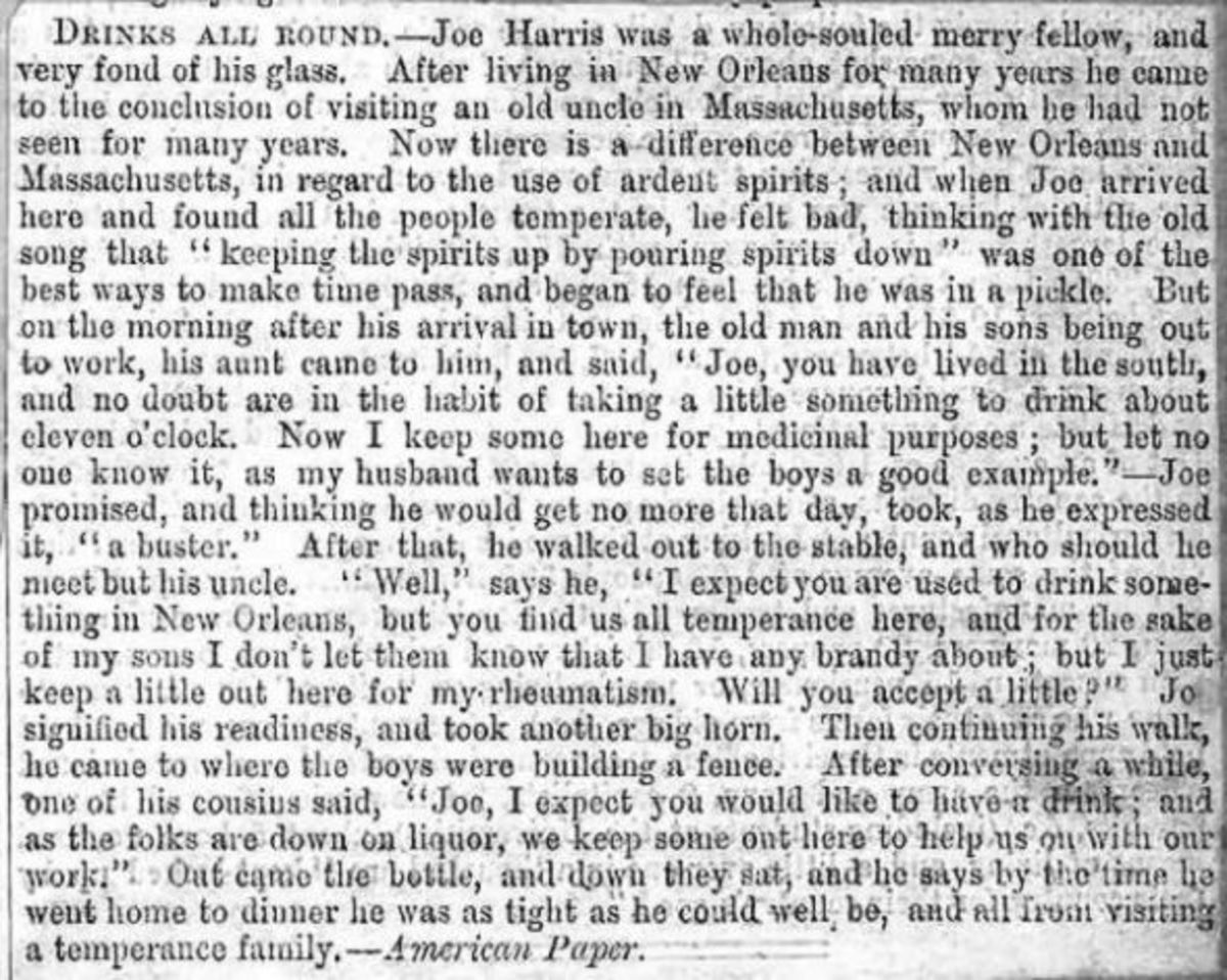 A Temperance Family in Massachusetts (humorous article entitled 'Drinks All Round')