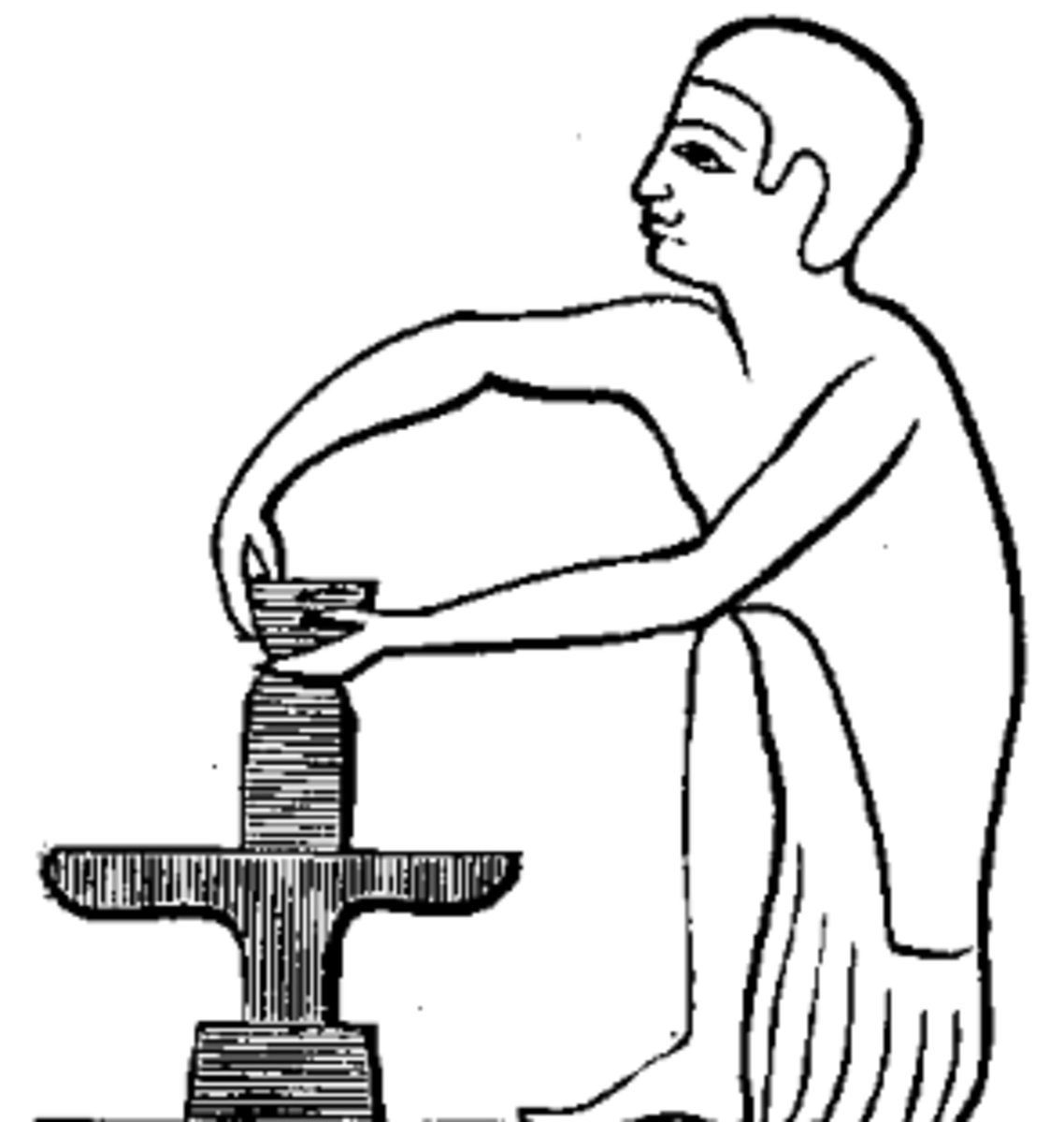 Image of a hand-turned potter's wheel, from Egypt circa 1800 B.C