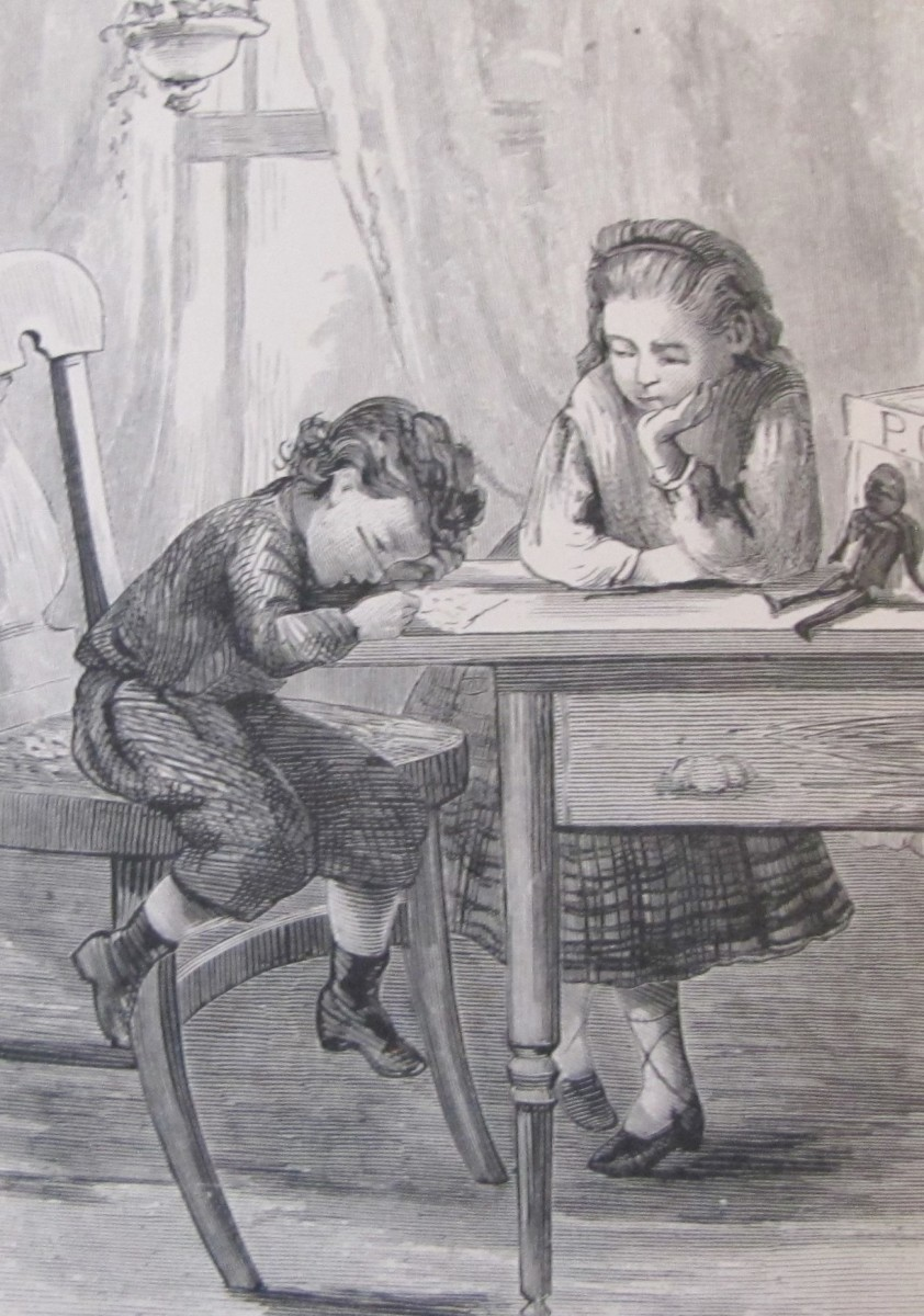 Illustration from a vintage book showing children in clothing from the mid-1800s. Perhaps they are writing a letter to their papa who is far away serving in the military.