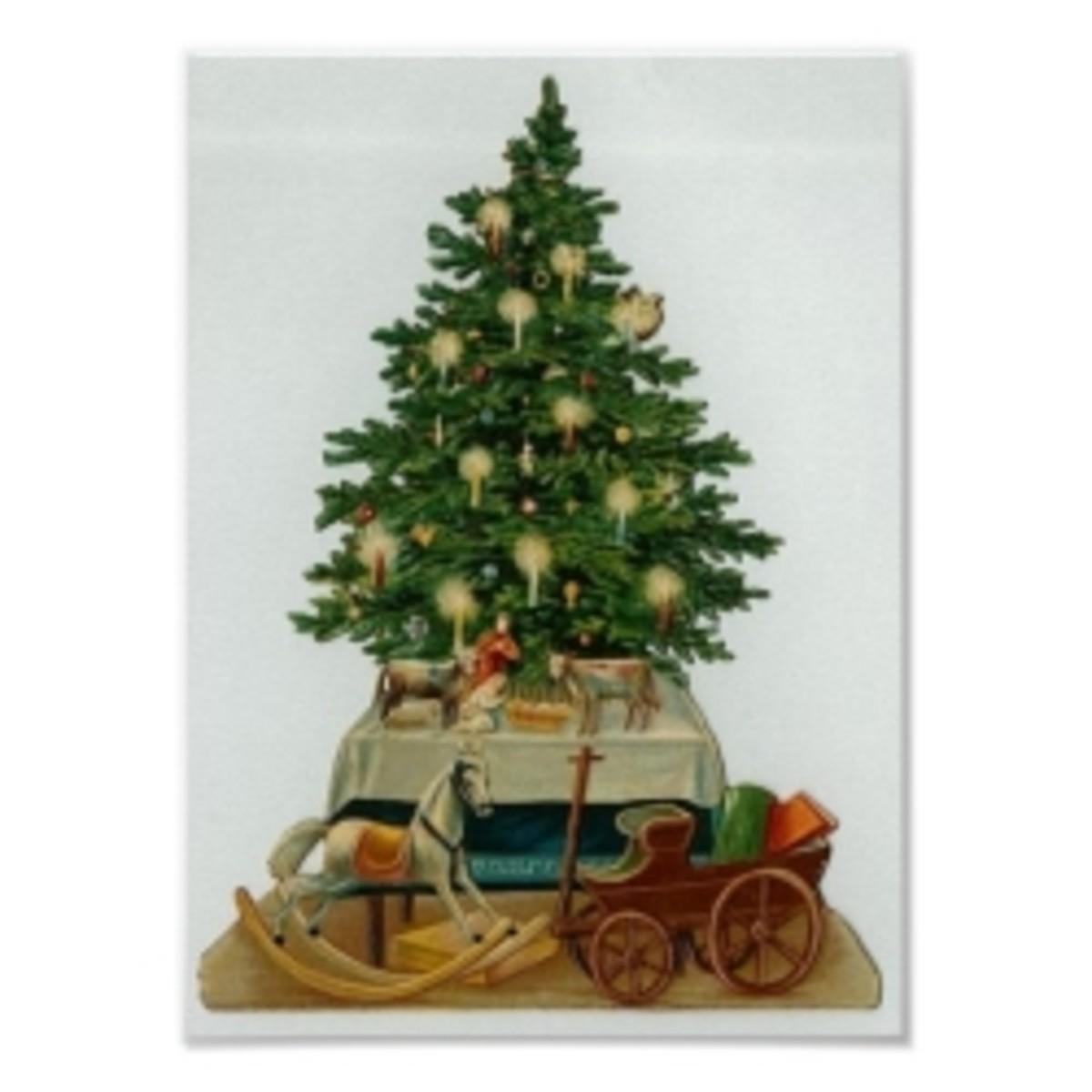 A modest Christmas tree from the Civil War era.