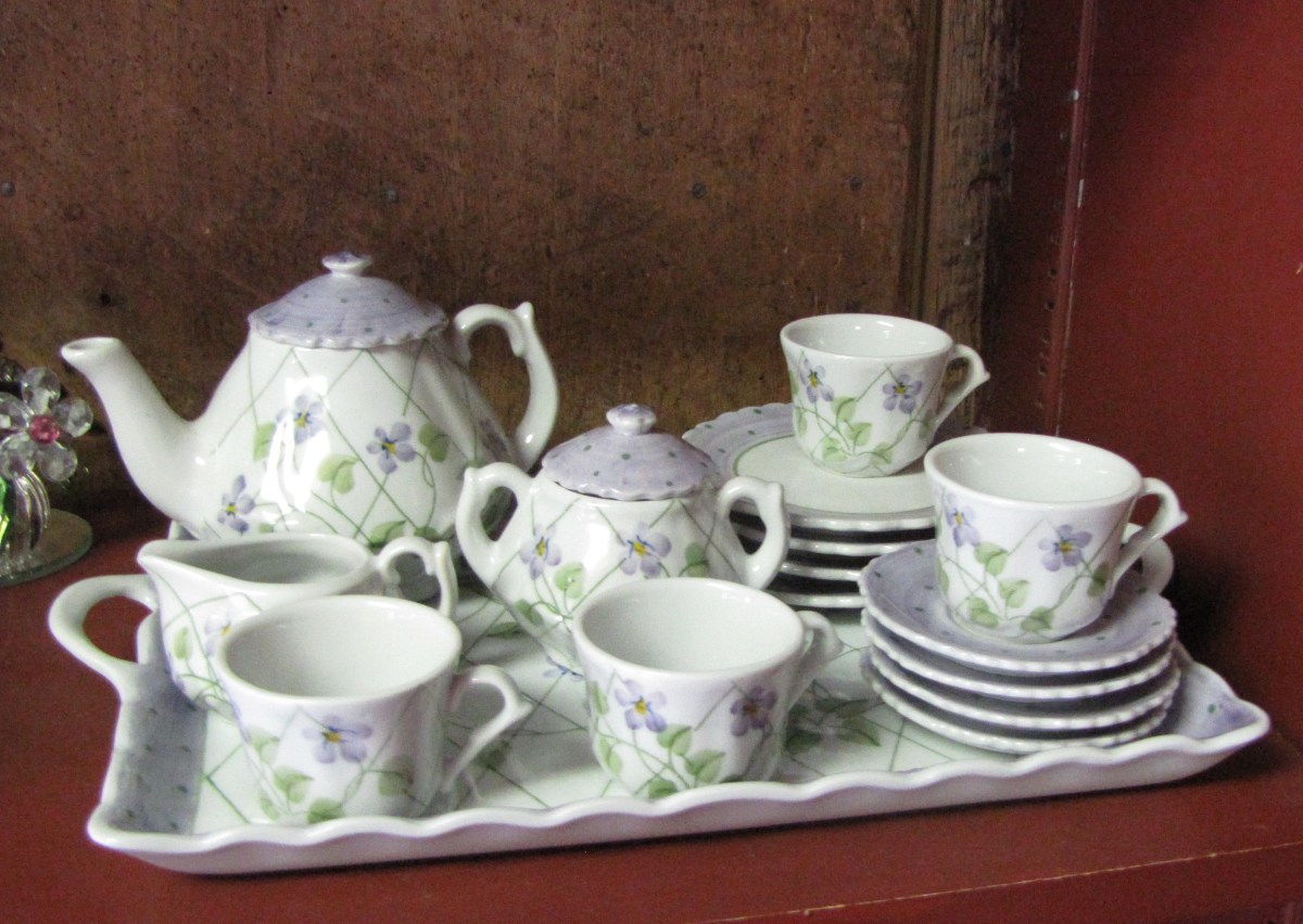 Just imagine the delight of a little girl receiving this miniature tea set to use with her doll.