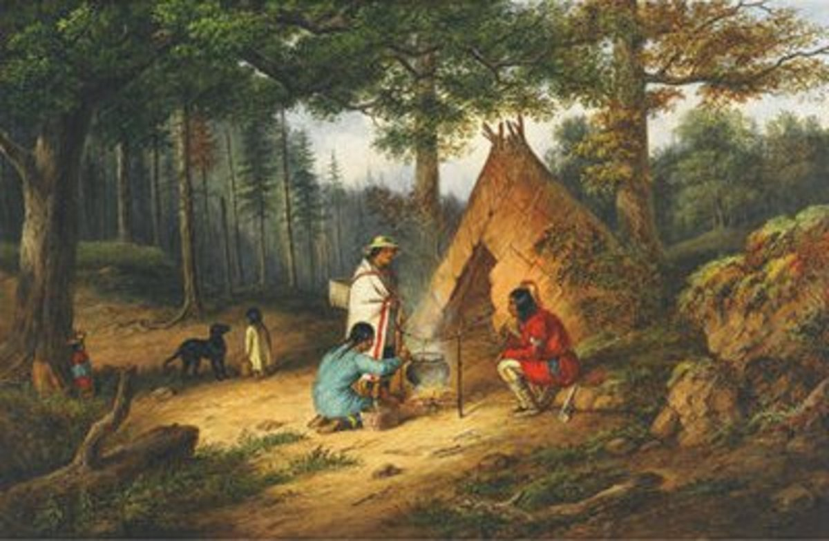 Caughnawaga (Kahnawake) Indians at Camp, painted by Cornelius Krieghoff