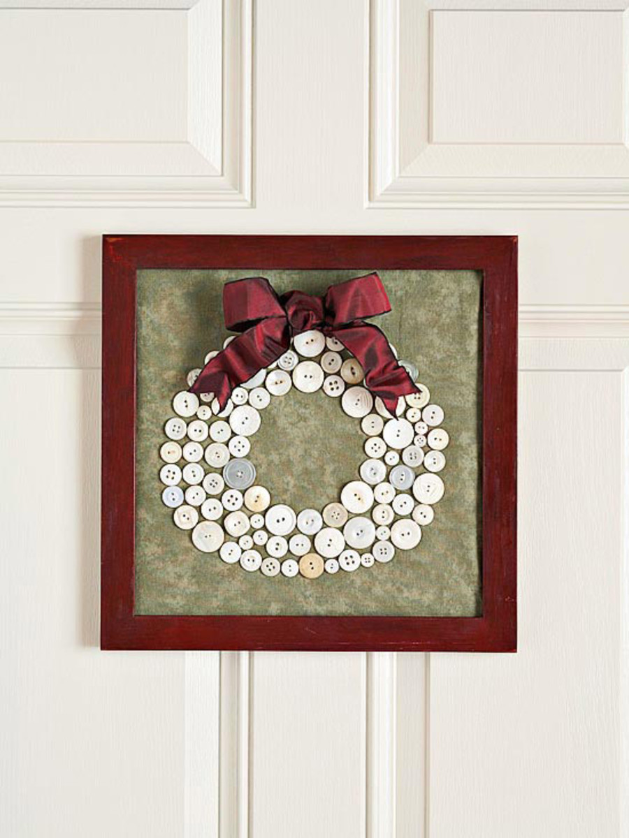 11 button wreath craft holiday decorations - Bricolage de noel facile pour adulte ...