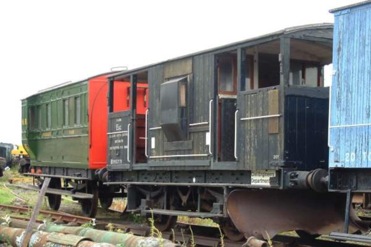 Ex-LMS Shark Brake van - ballast 'plough' was lowered by wheel on either end plarform