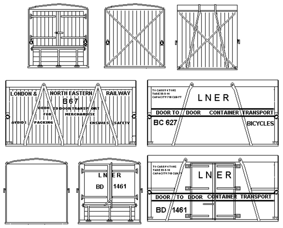 LNER containers - containerisation began in earnest in the 1930s on Britiain's railway network: Great Western,  L&NE, LM&S and Southern rsilways
