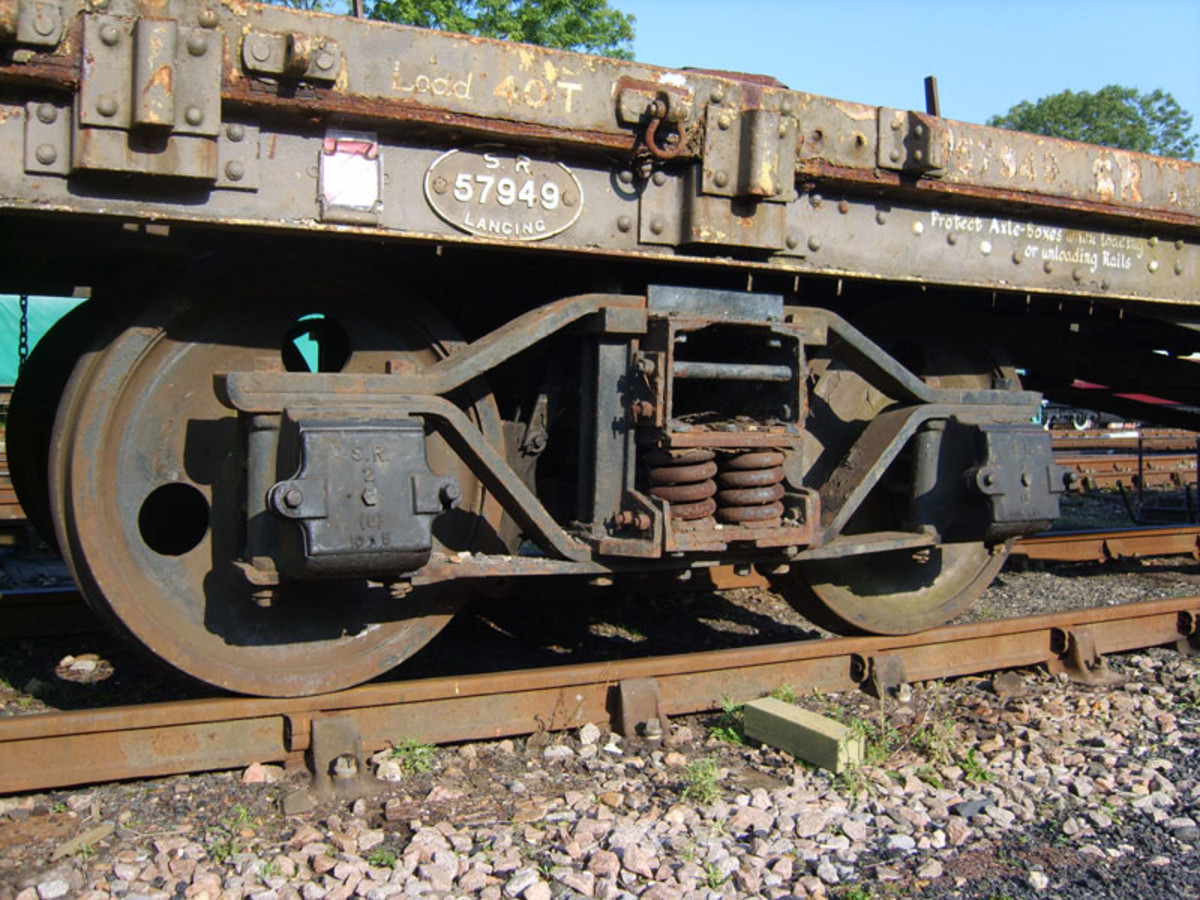 Close up of the real thing this time: Southern Railway (SR) Bogie Bolster wagon No. 57949 bogie built at Lancing in Sussex before 1948