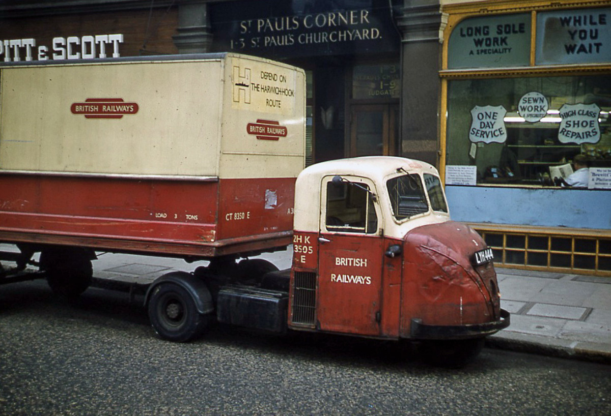 Ultimate in cornering - British Railways Scammell Scarab 'mechanical horse' used in town and city centres for deliveries to shops and warehouses - mechanical horses replaced the real thing from early in the 20th Century, early ones were steam wagons