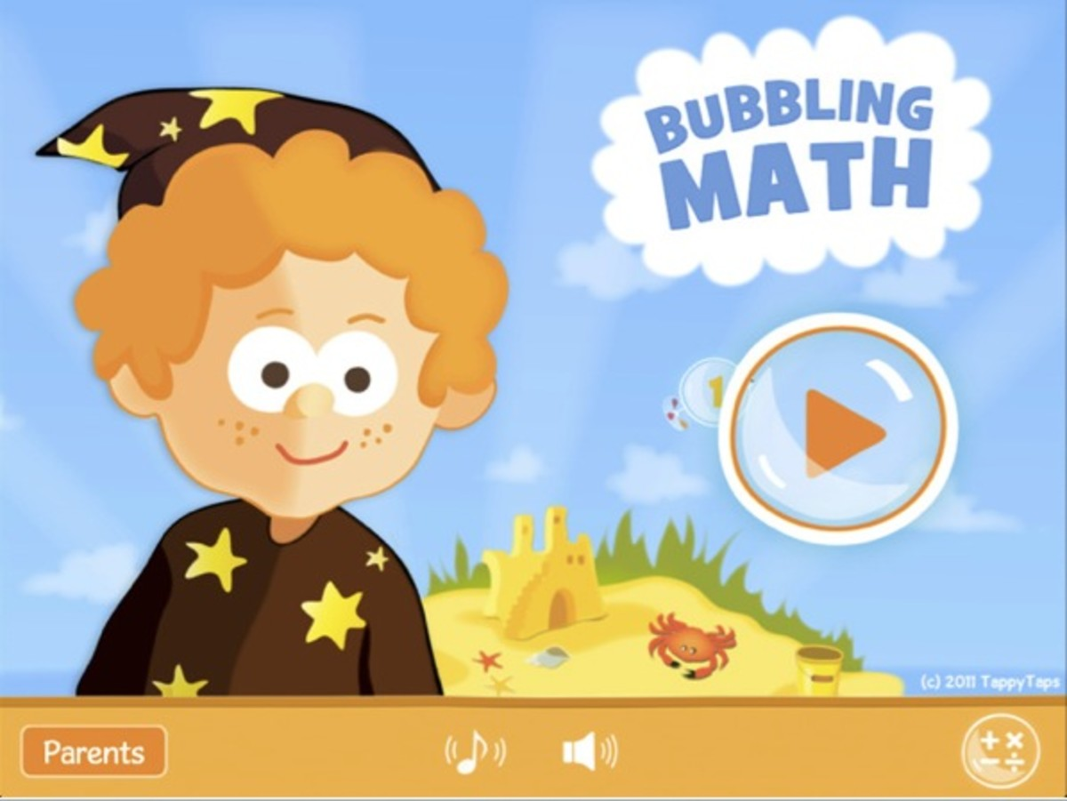 Bubbling Math is an iPad app for practicing addition, subtraction, multiplication and division math facts.