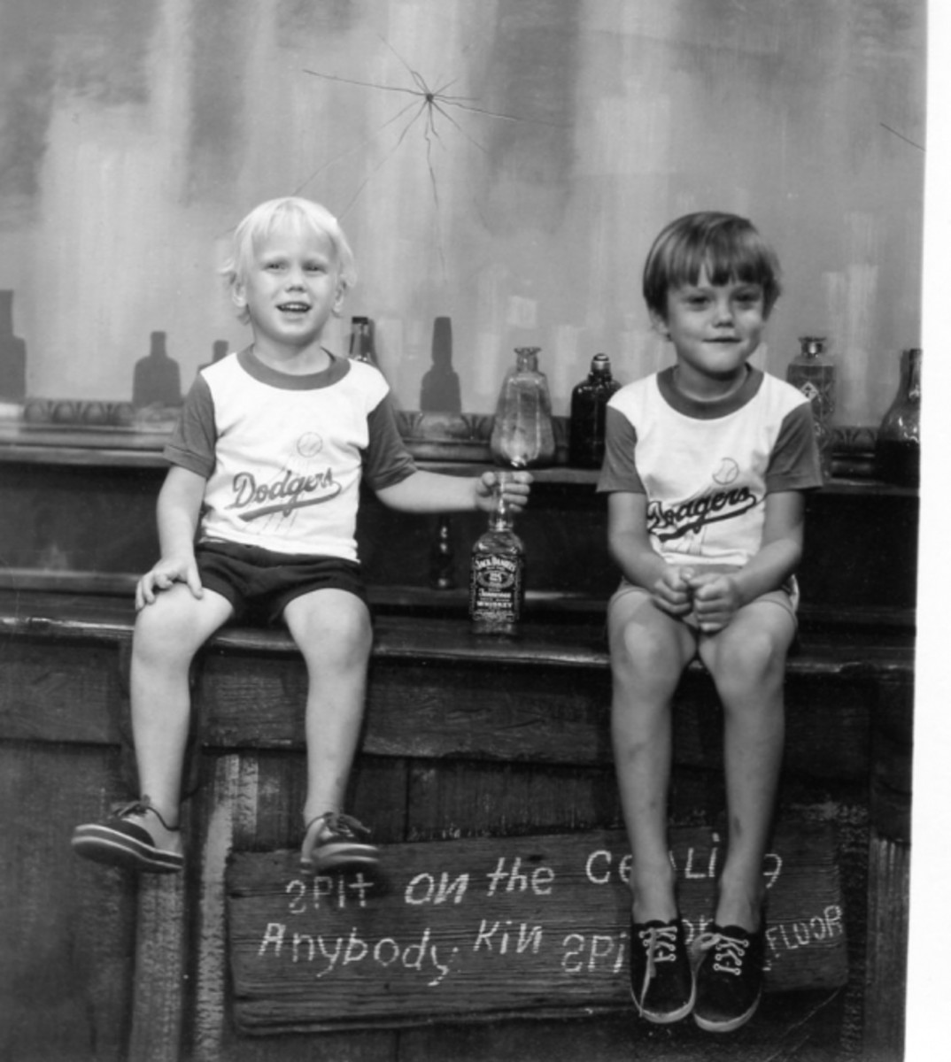 1974 - Christopher and Scott on the bar. Chris was three, Scott was five. They are my kids.