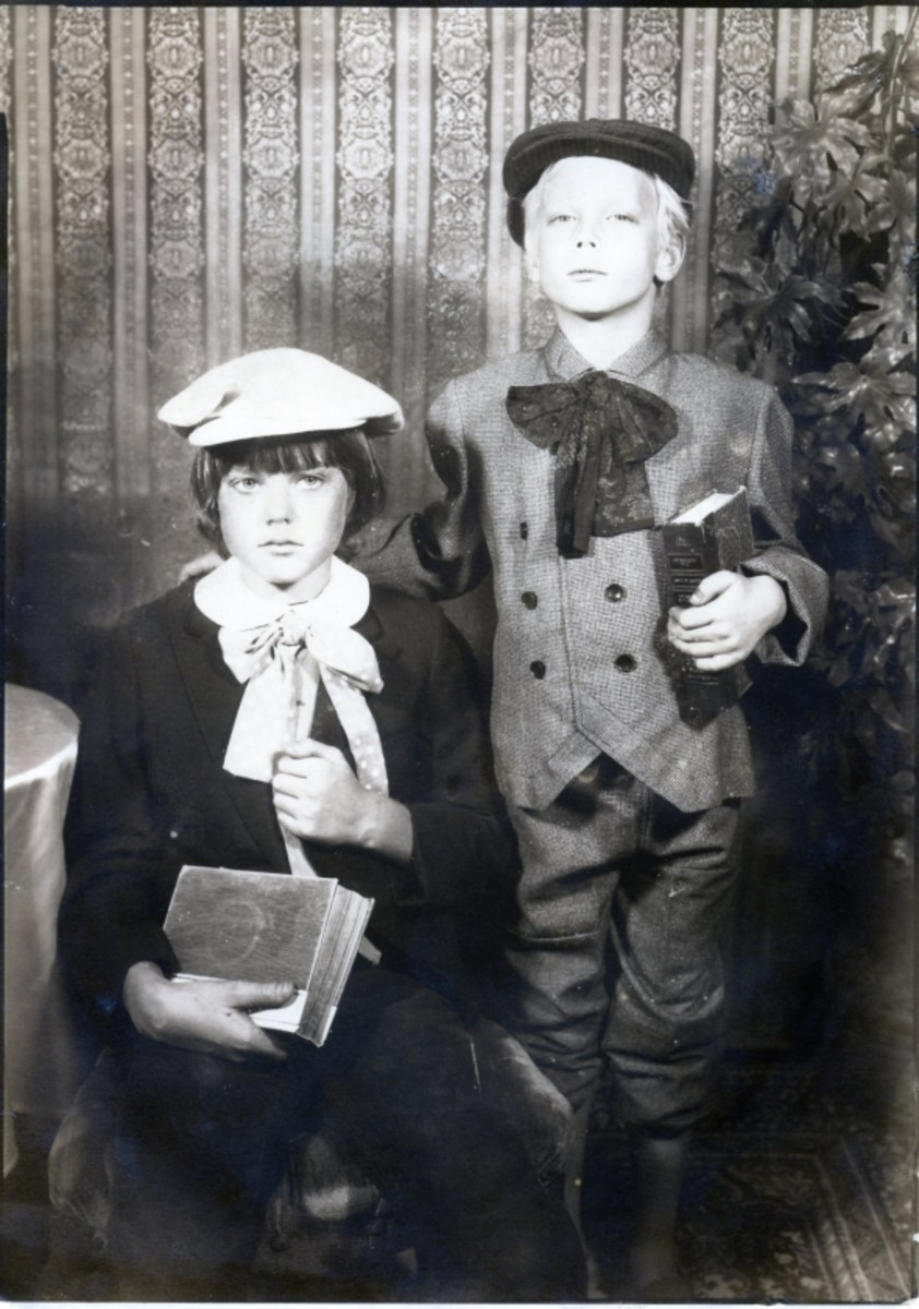 Christmas 1980 - Scott and Chris - They were not happy that I made them dress as school boys. They wanted to be outlaws.