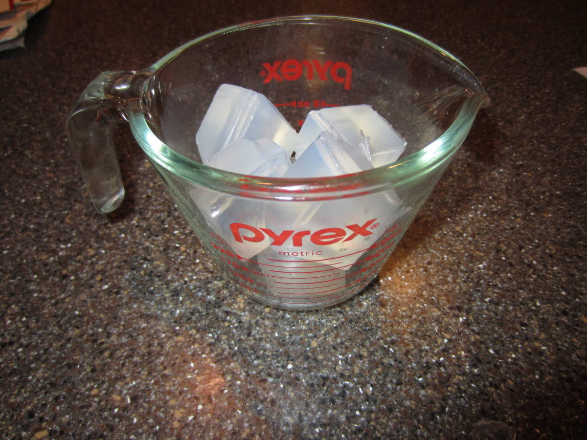 Place the cubes in the Pyrex measuring cup.