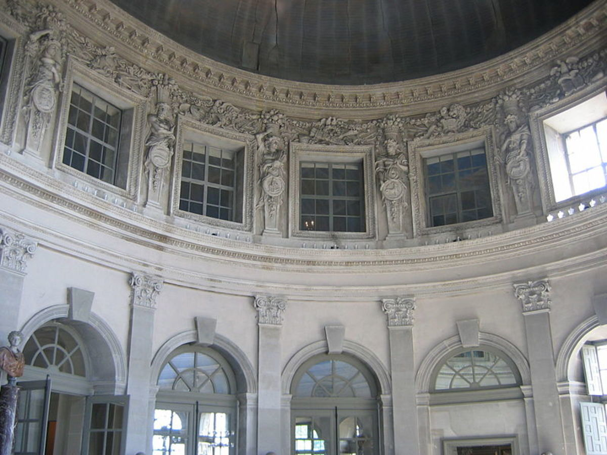 Interior of central salon, Vaux Le Vicomte, designed by Le Vau.