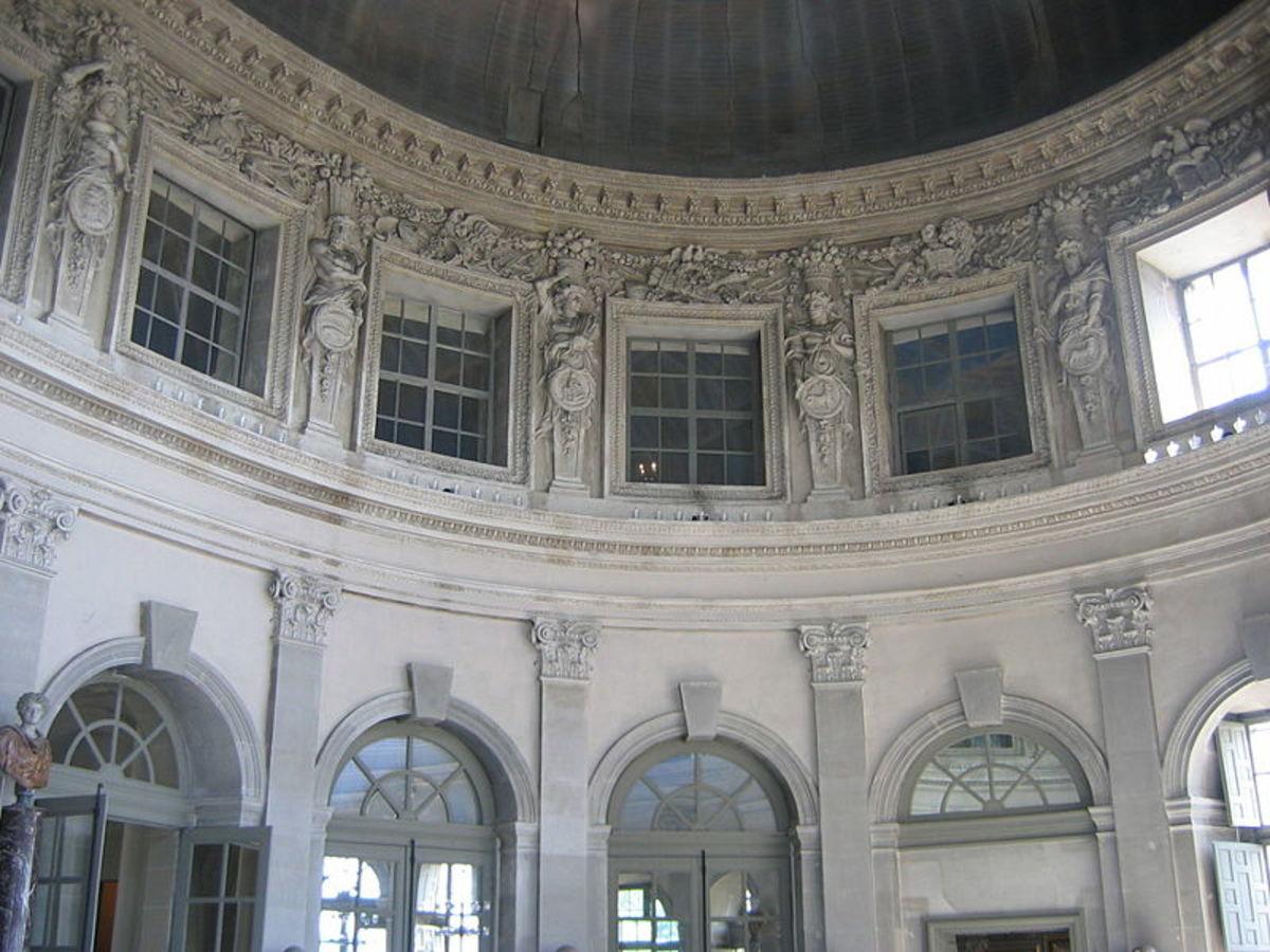 Interior of central salon, Vaux Le Vicomte, designed by Le Vau.