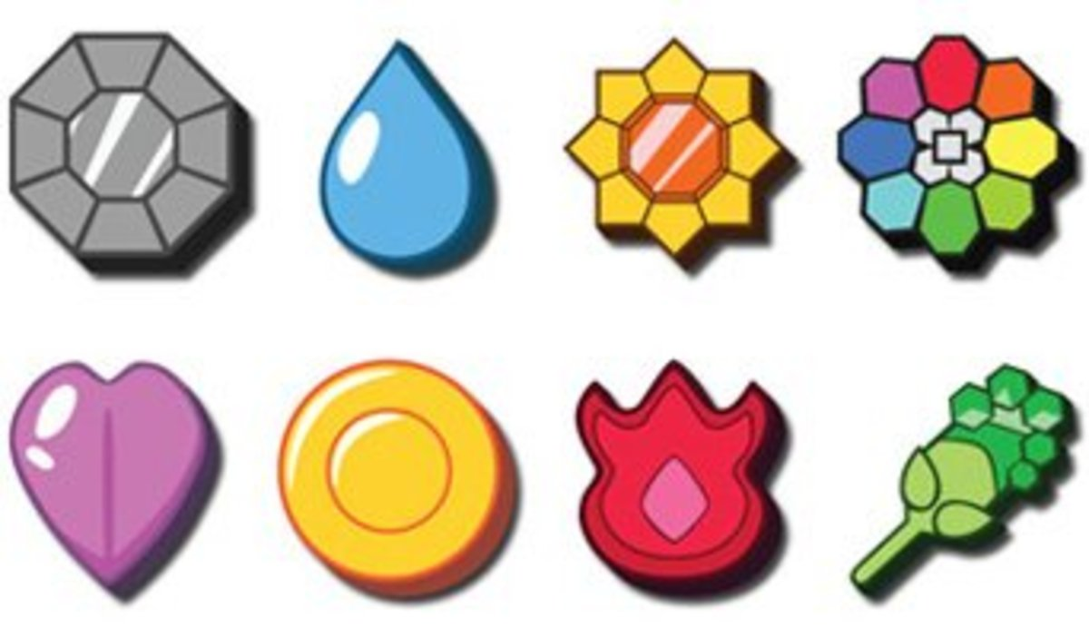 These are the 8 Kanto Region Badges, in the order left to right. Top row then bottom row.